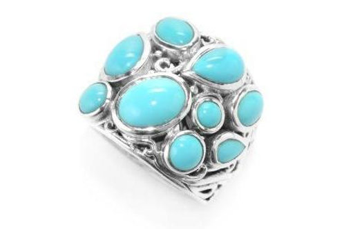 SS MULTI SHAPE SLEEPING BEAUTY TURQUOISE RING