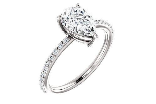 14K White 9x6mm Pear Forever One™ Moissanite & 1/5 CTW Diamond Engagement Ring