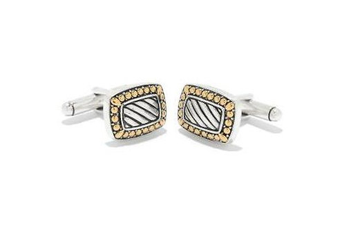 SS/18K RECTANGLE STRIPED CUFF LINKS