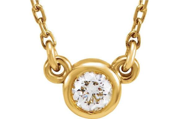 14KY Bezel Set Diamond Pendant CN= 0.35ct
