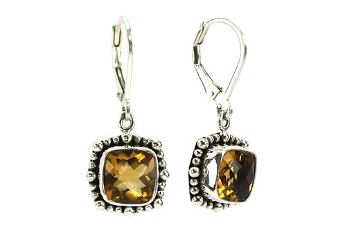 P A D M A 925 S. Silver Bali Beaded Citrine Earrings
