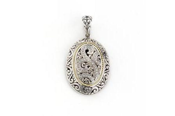 SS/ 18K OVAL PENDANT WITH DIAMONDS 0.14CT