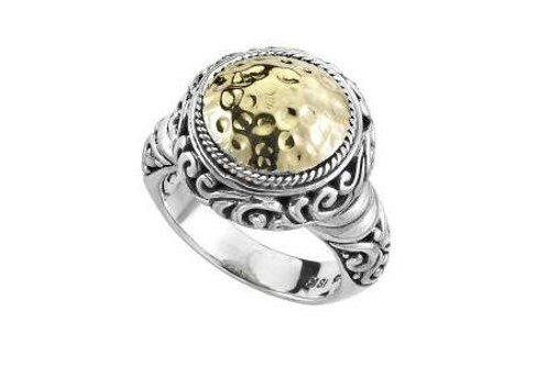 SS/18K ROUND HAMMERED YELLOW GOLD RING