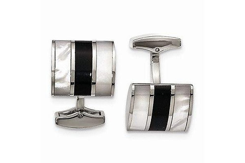Stainless Steel Polished Black Stone & Mother Of Pearl Cuff Links