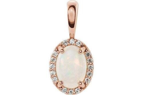 14K Rose Gold 8X6 mm Opal & Diamond pendant