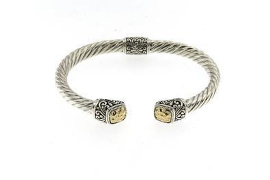 SS/18K TWISTED CABLE BANGLE WITH HAMMERED GOLD CUSHION ENDCA