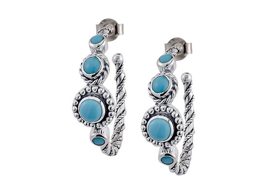 SS SLEEPING BEAUTY TURQUOISE HOOP EARRINGS