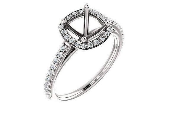 14K Gold French Set Diamond Halo Engagement Ring