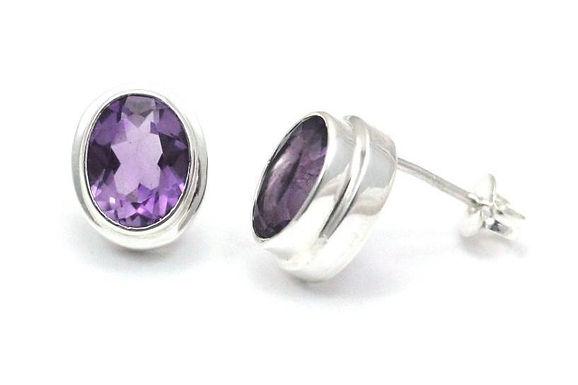 P A D M A 925 S. Silver Bali Amethyst Post Stud Earrings