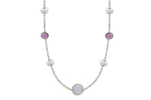 STERLING SILVER AMETHYST/CHALCEDONY DARCEY NECKLACE