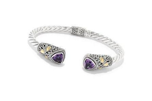 SS/18K TRILLION AMETHYST HINGED BANGLE