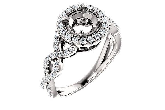14K  Round 3/8 CTW Diamond Semi-Set Infinity-Inspired Halo-Style Engagement Ring