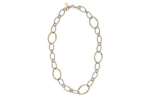 Sterling Silver and Yellow Gold Plated Oval Link Necklace Frederic Duclos