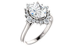 14K  9x7 mm Oval FOREVER ONE™ MOISSANITE Engagement Ring