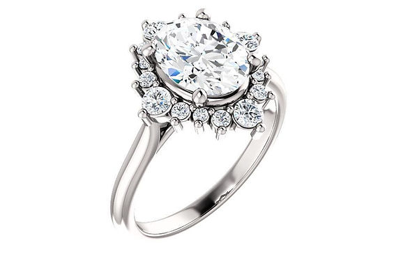 14K  9x7 mm Oval FOREVER ONE™ MOISSANITE Engagement Ring