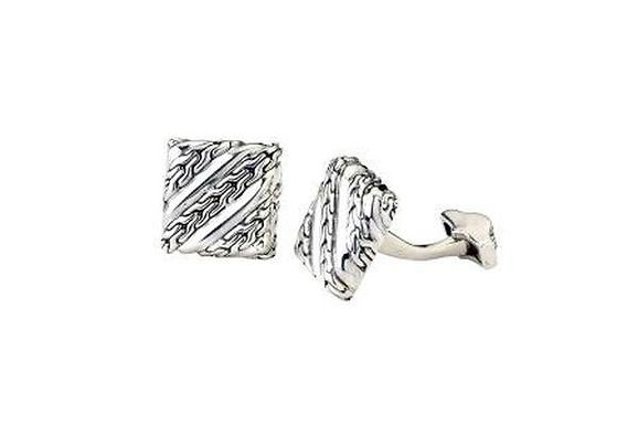 SS CHAIN LINK DESIGN SQUARE CUFF LINKS