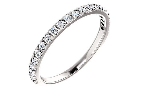 14K White 1/4 CTW Diamond French-Set Wedding Band