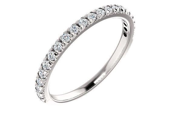 14K White 1/4 CTW Diamond French-Set Wedding Band
