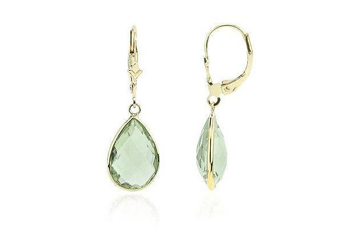 14K Gold Dangle Earrings With Green Amethyst Pear Shaped