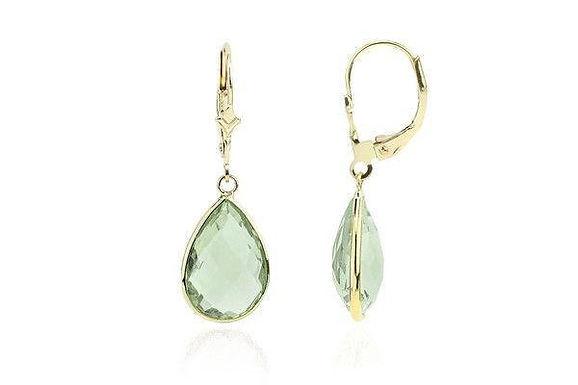 14K Gold Dangle Earrings With Green Amethyst Pear Shaped