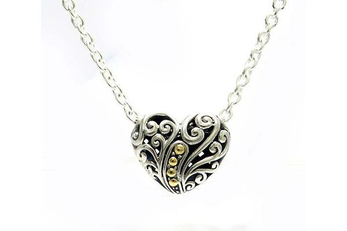 "SS/18K 18"" BALINESE SWIRL DESIGN HEART NECKLACE (LARGE)"