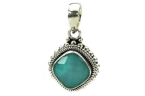 Silver Turquoise Beaded Pendant