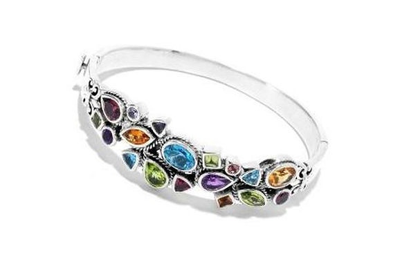 SS MULTI GEMSTONE BANGLE