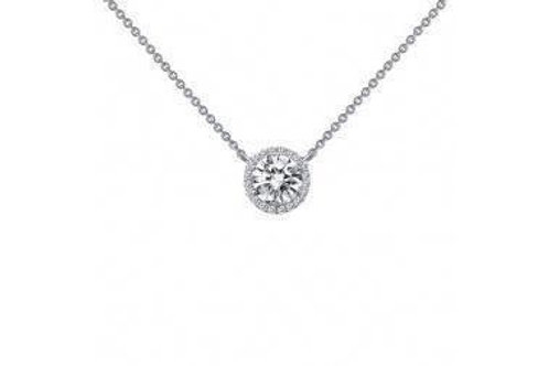 Silver Simulated Halo Necklace N0038CLP18