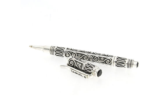SS BALINESE DESIGN PEN WITH ONYX END CAPS