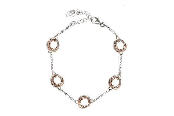 STERLING SILVER AND ROSE GOLD PLATED LOVE KNOT BRACELET