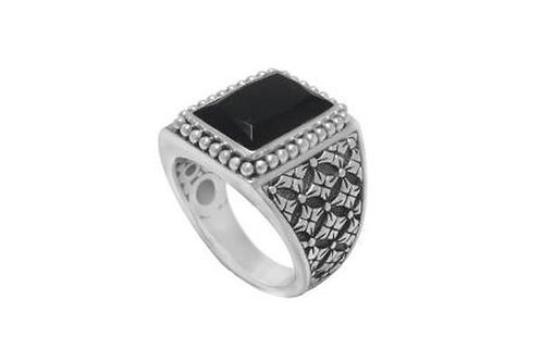 S. SILVER ONYX RING