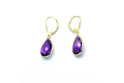 14K Gold Dangle Gemstone Earrings Pear Shaped Amethyst