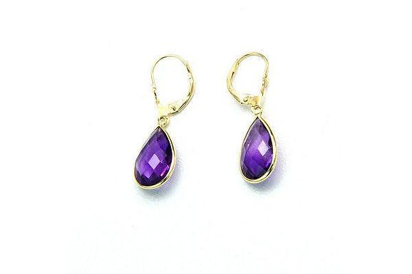 14K Gold Dangle Gemstone Earrings Pear Shaped Amethyst