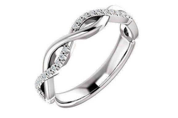 14K 1/8 CTW Diamond Infinity Wedding Band