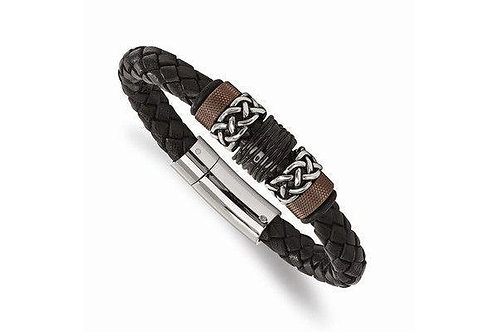 Stainless Steel Polished/Antiqued Blk IP Brown IP Blk Rubber Blk Leather Br