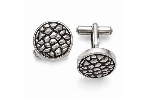 Stainless steel antiqued and textured cufflinks