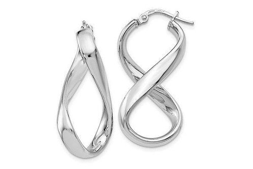 Sterling Silver Polished Twisted Hoop Earrings