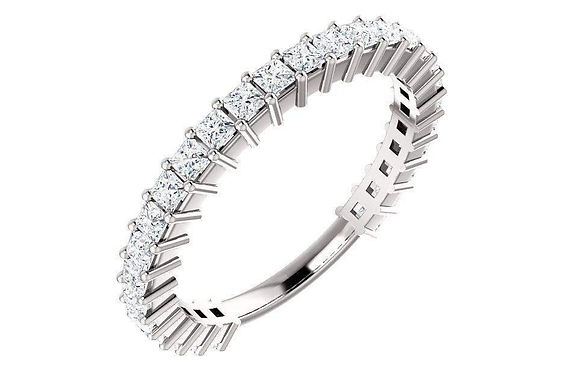 14K Gold 1-ctw Princess Diamond Anniversary Band