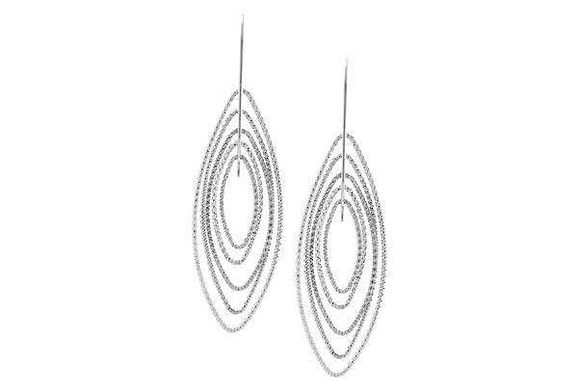 Sterling Silver 3D Marquise Earrings.