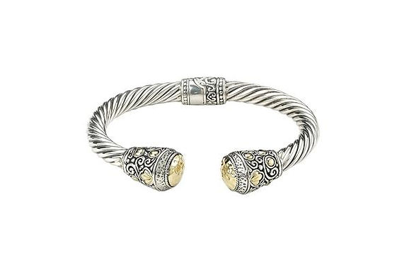 """SS/18K 6 1/2"""" HAMMERED GOLD TWISTED HINGED BANGLE"""