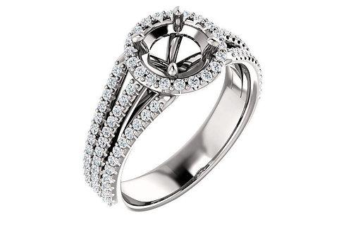 14K 6.5mm Round 1/2 CTW Diamond Semi-Set Engagement Ring