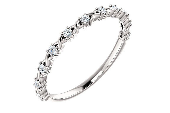 14K Gold Diamond Wedding - Anniversary Band 123626
