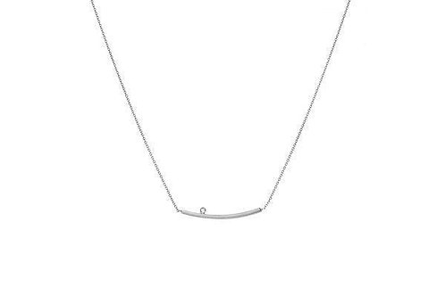 14KW Curved Bar-Diamond Necklace - Adjustable Chain