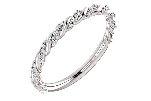 Diamond Pavé Cable Twist Wedding Band 0.25CTW