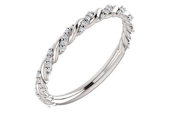 Diamond Pavé Cable Twist Wedding Band 0.25CTW