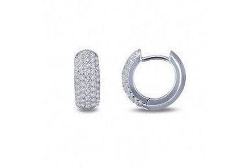 Silver Pave' Huggie Earrings E0200CLP00