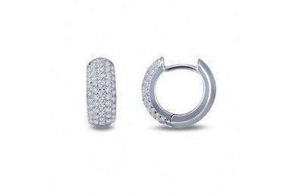 Silver Pave' Huggie Earrings E0200CLP00
