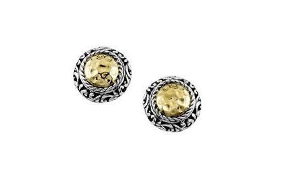 SS/18K ROUND HAMMERED GOLD STUD EARRINGS