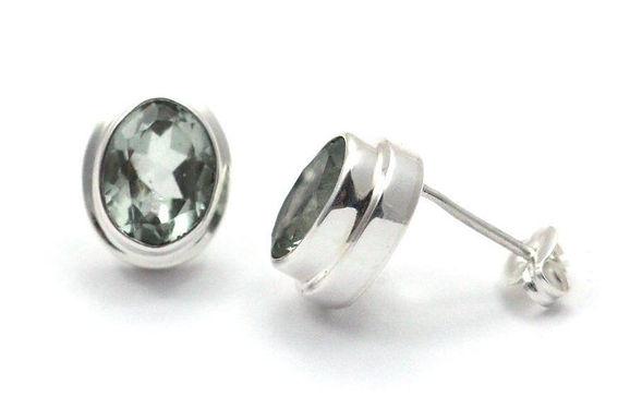 P A D M A 925 S. Silver Bali Green Amethyst Stud Earrings