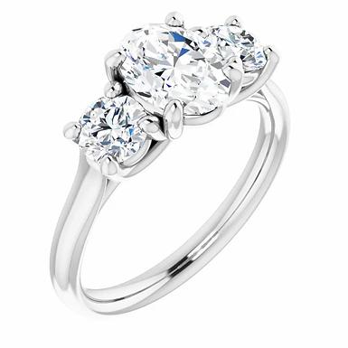 14K Gold 8x6 mm Oval Forever One™ Moissanite Engagement Ring